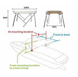 Bimini tenda s 2 luka, 150x150cm, INOX