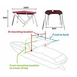 Bimini  tenda s 3 luka, 200x165cm, INOX