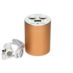 MANTA punjač za auto USC9001, postavljanje u držač za čašu, 2xUSB + 2x upaljač
