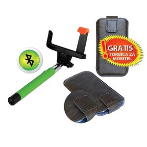MS BT SELFIE štap zeleni + MS STYLE 5 torbica za mobitel GR