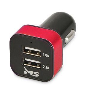 MS STREAM 2 2.1A crveni auto punjač  s dva USB utora