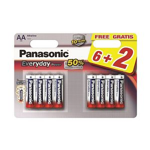 PANASONIC baterije LR6EPS/8BW 6+2F Alkaline Everyday Power