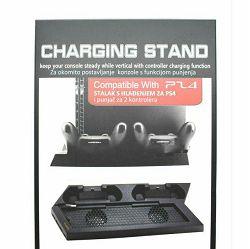 Stalak za hlađenje PS4 s punjačem za 2 kontrolera crni