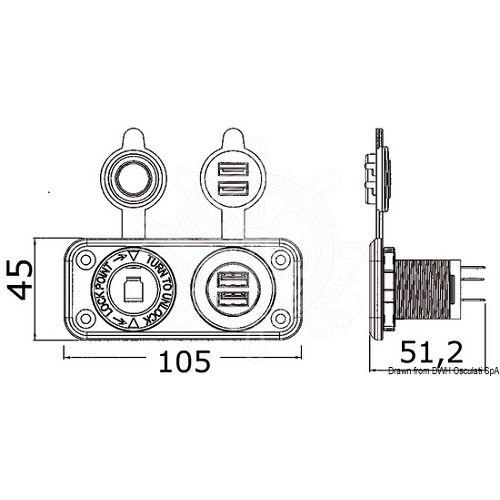Utičnica za upaljač za cigarete + dvostruka USB sa panelom